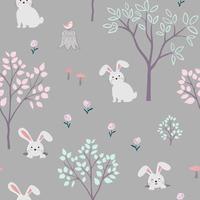 personagens de desenhos animados fofos de padrão sem emenda de coelhos
