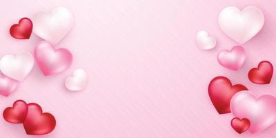 design de plano de fundo do dia dos namorados com corações lindamente arranjados para o dia do amor vetor