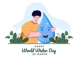 ilustração mundo água dia 5 de março com a pessoa abraçando o personagem mascote da caixa de gota de água. feliz dia internacional da água. comemorar o dia mundial da água. adequado para banner, cartaz, cartão, folheto. vetor
