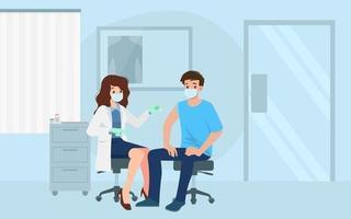 um médico em uma clínica dando uma vacina contra o coronavírus a um homem. conceito de vacinação para saúde de imunidade. prevenção de vírus para tratamento médico, processo de imunização contra covid-19 para pessoas. vetor