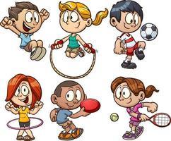 desenhos animados crianças brincando vetor