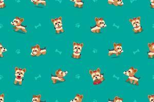 personagem de desenho animado yorkshire terrier cão padrão sem emenda vetor