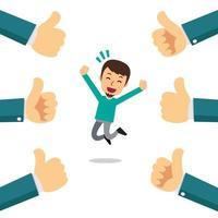 vector cartoon homem feliz com muitos polegares para cima mãos