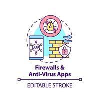 ícone de conceito de aplicativos de firewall e antivírus vetor