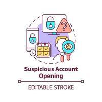 ícone de conceito de abertura de conta suspeita vetor