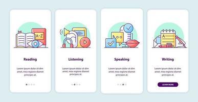 processo de aprendizagem integrando páginas da tela do aplicativo vetor