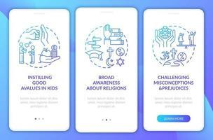 valor da religião da marinha na tela da página do aplicativo móvel com conceitos vetor