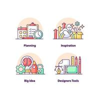 conjunto de ícones de conceito de interface do usuário criativa de soluções de negócios