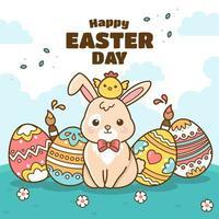 coelho adorável perto de um monte de ovos coloridos vetor
