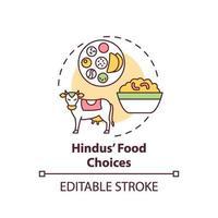 ícone do conceito de escolha de comida hindu vetor