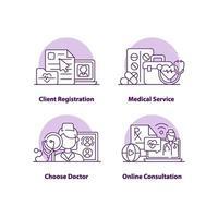 conjunto de ícones de conceito de interface do usuário criativo de registro de cliente