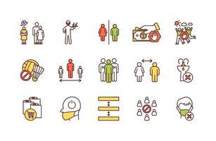 conjunto de ícones de cores rgb de regras de segurança pública vetor
