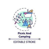 ícone de conceito de piquenique e camping