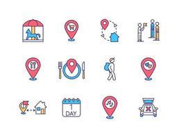conjunto de ícones de cores rgb de turismo local vetor
