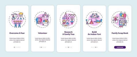 dicas de vínculo familiar tela de página de aplicativo móvel com conceitos