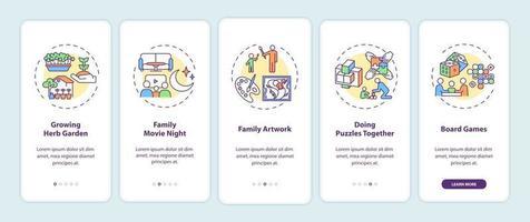 tela da página do aplicativo móvel com conceitos de atividades internas para a família