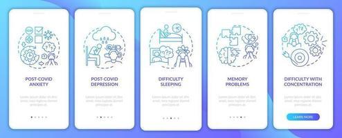 Síndrome pós-covid e saúde mental integração tela da página do aplicativo móvel com conceitos