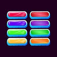conjunto de jogo da interface do usuário cubo de gelo arredondado com diamante e botão colorido de gelatina para ilustração vetorial de elementos de ativos de interface vetor