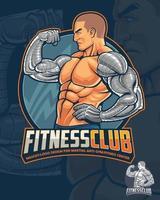 mascote do fitness club e design de logotipo vetor