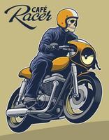 ilustração em vetor cafe racer para capacete de elementos de logotipo pode ser removida.