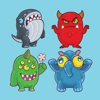 Monstros fofos para ilustração e design vetor