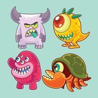 Conjunto de monstros fofos e engraçados vetor