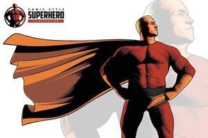 closeup de super-herói estilo cômico vetor