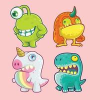 conjunto de personagens de monstro fofo vetor