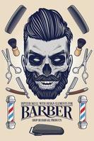 crânio moderno com equipamento de barbeiro