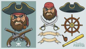 elementos piratas para a criação de mascote e logotipo vetor