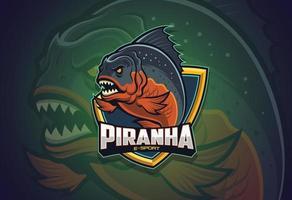 design do logotipo da piranha esport vetor