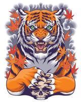 ilustração de tigre e crânio com fundo de arte em estilo japonês vetor