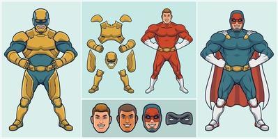 kit de super-herói personalizável vetor