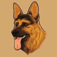 retrato de cão pastor alemão vetor