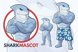 desenho de mascote de tubarão vetor