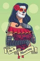 dia de los muertos senhora com vestido catrina vetor
