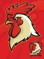 mascote cabeça de frango para esportes ou mascote universitário vetor