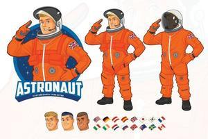 desenho de mascote de astronauta vestindo terno laranja vetor