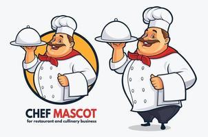 Projeto engraçado do mascote do chef para restaurante e negócios culinários, projeto do mascote do chef gordo