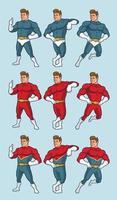 pacote de super-heróis em várias poses vetor