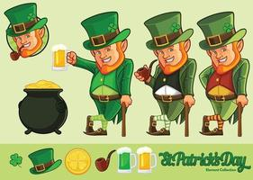 desenho de leprechaun e coleção de elementos para a celebração do dia de St Patrick com cor opcional vetor