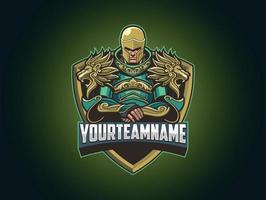 logotipo do guerreiro blindado para esportes esportivos