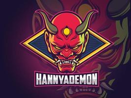hannya demon face design de logotipo do esports para sua equipe vetor