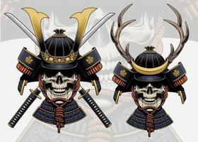 ilustração de samurai em crânio com capacete de chifres de veado vetor