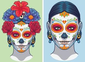 dia de los muertos senhora maquiagem e acessórios vetor