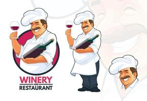chef servindo vinho vetor