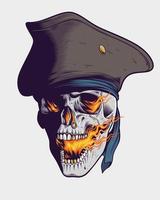 Crânio de pirata cuspidor de fogo vetor