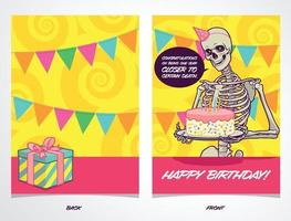 cartão de aniversário com esqueleto contando uma piada sombria vetor