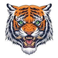 cabeça de tigre em ilustração estilo japonês vetor