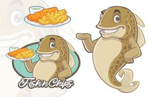 desenho de mascote de peixe e batatas fritas vetor